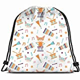vintage cap Pattern Cats Playing Drum Special Backpack Sack Bag Gym Bag for Men & Women 17X14 Inch