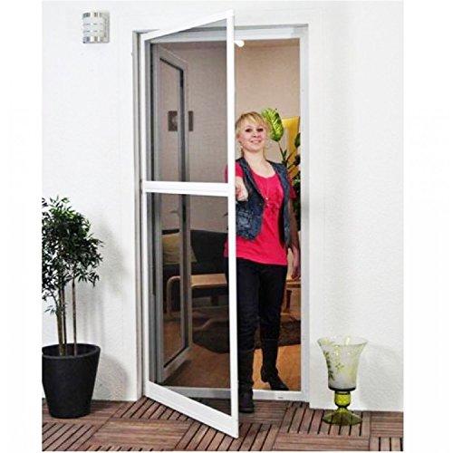 Basis Fliegengitter für Tür als Alubausatz mit Fiberglasgewebe - Profi Insektenschutz Gaze - 100 x 210 cm (weiß) - Aluminium-basis