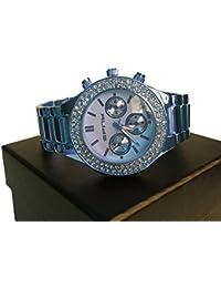 Bañado En Plata 3 Chrono estilo hiphop bling Faux Diamond Bisel reloj