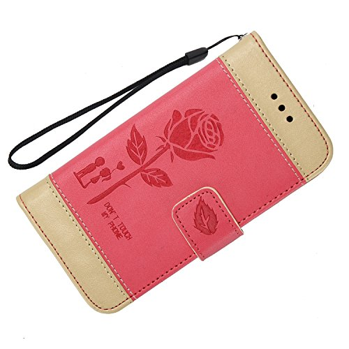 Custodia iPhone 5S,Custodia iPhone 5,Custodia iPhone SE,Leweiany Creativo Luxury Fantasia Belle Embossed Rose Fiore Premium PU Custodia del Cuoio Copertura Rigida Ragazza Donne Uomo Protettiva Custodi Rosso