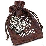 Klassisches Viking Odin Gesicht mit zwei Viking Wölfe Amulett Thors Hammer Anhänger Halsband Mjölnir Steampunk skandinavischen heidnischen Fenrir Nordic - Edelstahl Kette