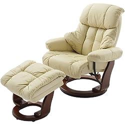 Robas Lund silla con crema de cuero Calgrey otomana Natural / crema y nogal / negro nuez naturales / negro / marrón 90 x 91 a 122 x 89 a 104 cm 64023CK5 relajante