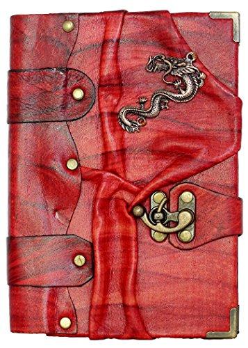 Chinesischer-Drachen-Anhänger auf einem rot, Leder-Journal/ Notizbuch/ Notizblock/ Tagebuch/...