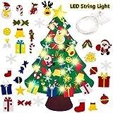 Feutre Arbre de Noël, Sapin de Noël avec LED, 3.3ft Sapin de Noël Décoration Vitrine DIY Feutre avec 30 Ornements détachables Cadeaux de Noël pour Les Enfants Noël Décoration