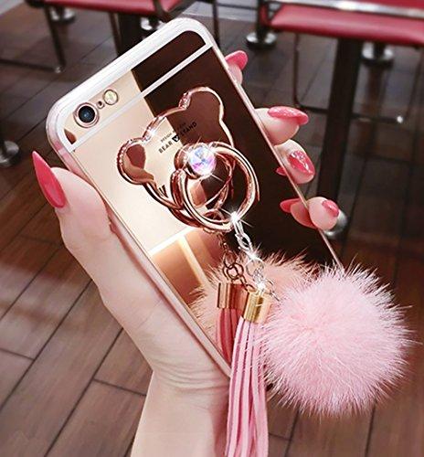 Fell Kugel Quasten Anhänger Weiches Gummi Bumper Bling Diamant Glitzer Spiegel Make-up Mädchen Handy Case mit Bär Ring Ständer für iPhone 6/6S Plus, Rose ()