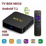 MX10 Android 7.1 TV Box de 4GB 32GB, Soporte 2.4G WiFi Connected 64bit...