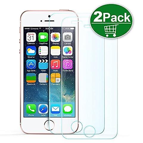 iPhone SE Displayschutzfolie,TechRise 2-Pack iPhone SE 5S 5C 5 Xtreme Scratch Ultra Transparenz Premium Schutzfolie Panzerglasfolie Folie mit 9H Härte und einfache blasenfreie Anbringung