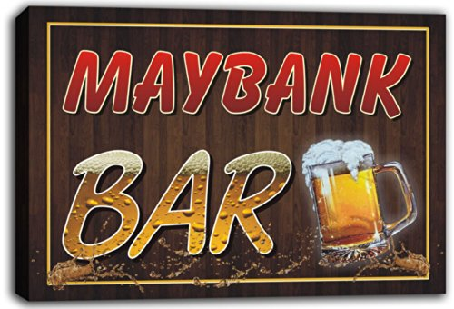 scw3-059538-maybank-name-home-bar-pub-beer-mugs-stretched-canvas-print-sign