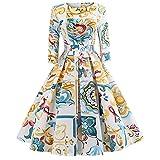 VEMOW Herbst Elegante Damen Abendkleider Vintage Print Dreiviertel Ärmel Casual Täglichen Abend Party Prom Swing Kleid Faltenrock Cocktailkleid(X1-Gelb, EU-44/CN-2XL)