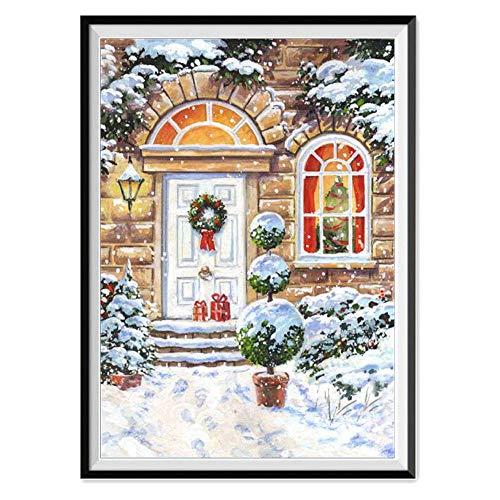 nting DIY Weihnachten Stickerei Malerei Kreuzstich für Wohnzimmer Schlafzimmer Arbeitszimmer usw Haus Dekor Kreuzstich Stickbild Weihnachten Steht vor der Tür ()