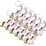 12 Stück TE-Trend Schlüsselanhänger Regenbogen Einhorn Pferd Kette Ring Keychain Rainbow Unicorn Mädchen Geburtstag Mitgebsel