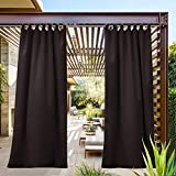 NICETOWN Patio Curtain Outdoor Drape Panel Easy Care Tab Top Blackout Mildew Resistant