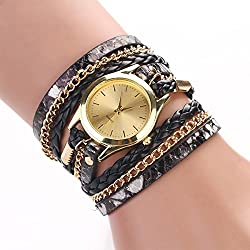 Zeagoo® Women Synthetic Leather Rhinestone Sling Chain Quartz Wrist Watch