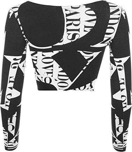 WearAll - Haut court à manches longues avec imprimés variés - Hauts - Femmes - Tailles 36 à 42 Lettres