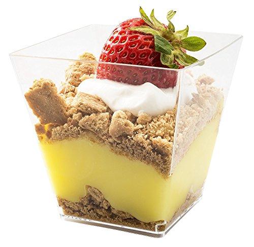 5oz. Mit Moderner, Dessert-Tasse, Kunststoff, transparent, quadratisch, mit–in der Farbe Parfait Glas Dessert Becher mit20