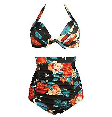 Waroom 2018 Vintage Ruched 50s Womens Traje de baño de Talle Alto - Solid Acanalada Halter Bow Bikini de Dos Piezas - Wave Retro Puntos de Mujer Conservative Split Swimwear (S, Safflower)