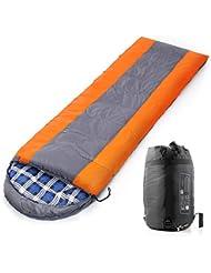 WEINAS® Saco de Dormir Momia Portátil Bolsa de Dormir Viaje para Actividades al Aire Libre, Camping y Senderismo (Naranja Gris Azul)