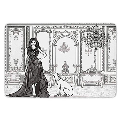 Bathroom Bath Rug Kitchen Floor Mat Carpet,Teen Room Decor,Sexy Fashion Woman in Victorian Palace with Dog Baroque Illustration,Dark Grey White,Flannel Microfiber Non-slip Soft Absorbent -