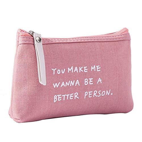 Daliuing - Bolsas de maquillaje portátiles de tela de lino y algodón para cosméticos, bolsa de aseo, bolsa de almacenamiento pequeña y duradera para mujeres