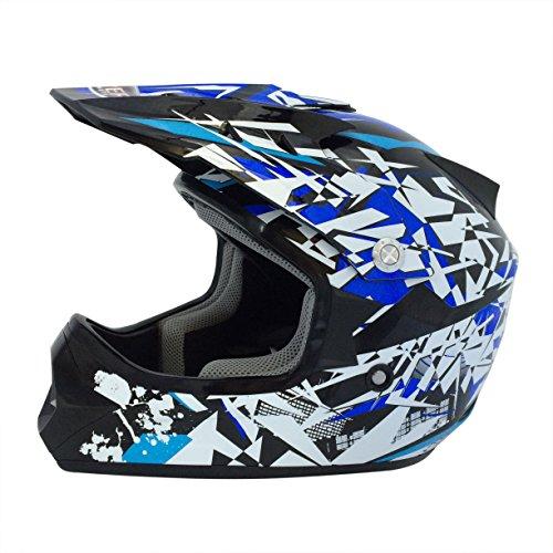 Viper Helmets Casco de Moto Para Niños Craze RSX13, Negro/Azul, L (59-60 cm)