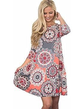 Damen Kleid Longra Damen Weinlese Langarm Boho Maxi Abend-Partei-kleid Strand-Blumenkleid
