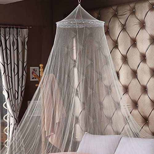 WANYIG Moskitonetz für Bett, Mückennetz für Bett, Baldachin Polyester Queen Size Bett Netting Baldachin Vorhang Fly 8,5 Meter Runde (Weiß) - Queen-size-baldachin-bett