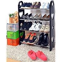 Cmerchants Multipurpose Open 4 Layer Portable Metal Shoes Organizer (Black, Cmerchants-4L.1)