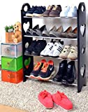 Cmerchants Multipurpose Open 4 Layer Portable Metal Shoes Organizer (Black, Cmerchants-4L.1)