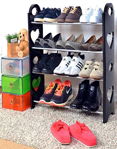 Cmerchants Shoe Organizer Open 4 Layer Portable Shoe Rack(Multipurpose Black)
