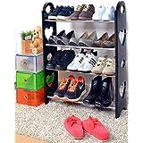 Cmerchants Shoe Organizer Open 4 Layer Portable Shoe Rack(Multipurpose Black)
