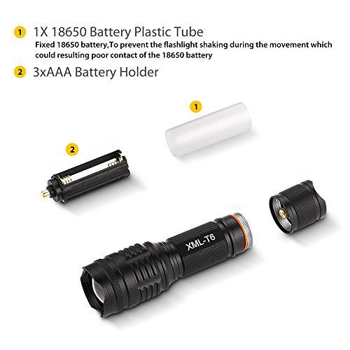 Elekin Taschenlampe 600 Lumen LED Cree T6, 5 Modis Einstellbar, IPx6 Wasserdicht für Indoor und Outdoor Sports-Schwarz - 4