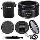 Canon EF 50mm f/1.8 STM Lens Bundle with Lens Pouch + 49mm UV Filter + Lens C.