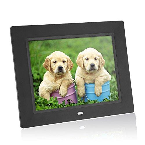 Andoer® 8 Pulgadas Marco de Foto Digital Ultrafino HD TFT-LCD Despertador Jugador Reproductor de Película MP3 MP4 con Escritorio Remoto(Black)