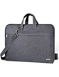 Voova Laptop Bag 14-15.6 Inch Water-resistant Laptop Case with Multiple Compartment Soft Foam Laptop Sleeve Shoulder Bag Computer Case Briefcase Compatible with Notebook,Ultrabook,MacBook,Grey