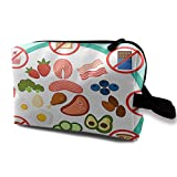 Keto Diet Do's and Don'ts Portable Travel Makeup Bag,Storage Bag Portable Ladies Travel Square Cosmetic Bag