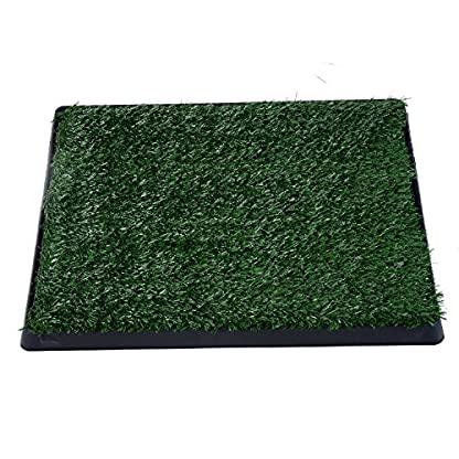 PawHut Indoor Pet Dog Toilet Mat Potty Tray Training Grass Restroom with Tray and Loo Pad 4