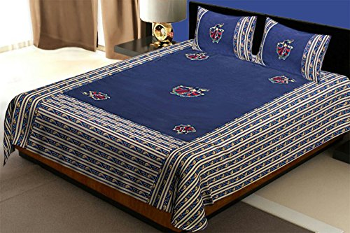 Kuber Industries Embroidery Design 144 TC Cotton Double Bedsheet with 2 Pillow Covers - King Size, Blue