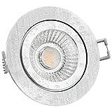 LED Einbaustrahler flach (53mm) dimmbar Dim-to-Warm 2300K bis 2700K Einbauleuchte RW-2 rund Alu IP44 für Bad und außen mit 10W LED Modul warmweiß