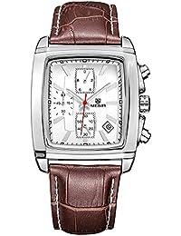 Megir Mens Watches Casual Brown Leather Strap Chronograph Analog Display Quartz Watch