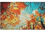 KunstLoft Acryl Gemälde 'Tanz der Baumkronen' 120x75cm | original handgemalte Leinwand Bilder XXL | Bäume Herbst Jahreszeiten Rot Orange | Wandbild Acrylbild Moderne Kunst einteilig mit Rahmen