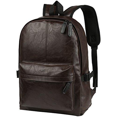 Vbiger Rucksack Herren PU Leder Schulrucksack Unisex Daypack für Jugendlich Jungen Outdoor Travel Backpack Braun