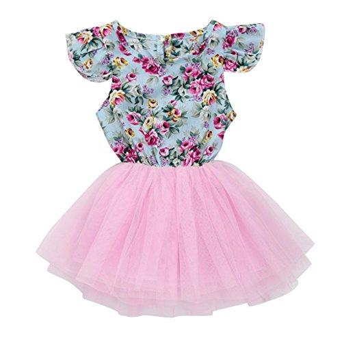 HUIHUI Kleid Mädchen, Baby Mädchen Patchwork Casual T-Shirt Kleid Prinzessin Kostüm Hochzeit Festliche Kleid Frühlings Herbst Kleinkind nettes Kaninchen Party Cocktailkleid (120 (5-6Jahre), Rosa)