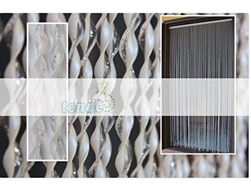 Tenda/moschiera pvc –modello 21 - asta in alluminio - made in italy - misure standard (95x200/100x220/120x230/130x240/150x250) - (95x200, bianco glitter argento)