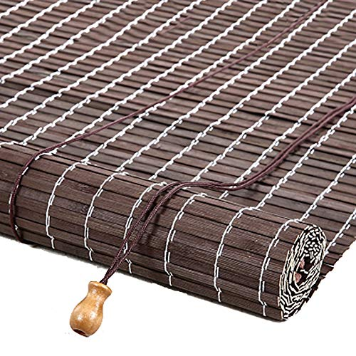 Raffrollos Bambus Rollo Jalousien, Gartenterrasse Pavillon Brown Blackout Horizontal Jalousien Für Balkon Tea Room Partition, 70-150cm Breite (Size : 90×110cm) -