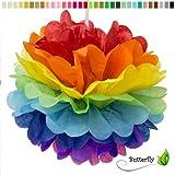 10 Papier Pompons 25cm SET ( Regenbogen / rainbow / bunt ) // PomPoms Bommel Kugel Seidenpapier Pom Pom Deko Hängedeko Raumdeko Blumen