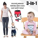 Umin 3-in-1 Tragbarer / Reisefähiger Kinderhochstuhl + Sicherheitsleine für Kleinkinder + Schutzgurt für den Einkaufswagen, leicht & waschbar, Rot