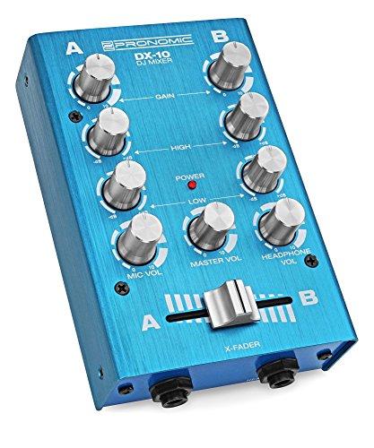 Pronomic DX-10BL DJ Mixer (Kompakter 2-Kanal-DJ-Mixer mit zwei Line-Eingängen und 2-Band Equalizer, Mikrofoneingang mit separatem Laustärkeregler, Master-, Record- und Kopfhörer-Ausgang) Blau