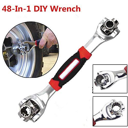 Tiger Wrench 48 in 1 tiger wrench Schlüssel Schraubenschlüssel Schrauben Torx-Schrauben TORX 360 Grad 6-Kant Universal Möbel Auto Reparatur(Rot)