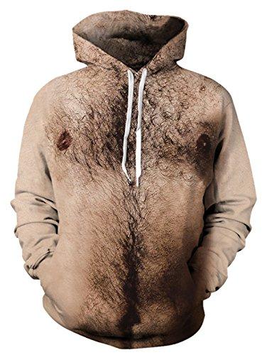 uzensweatshirt Hoodies Men 3D Grafik Brustbehaarung All-over Print Pullover mit Tunnelzug und Große Kängurutasche und Fleece-Innenfutter (Halloween Kostüme Hoodie)