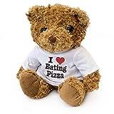 London Teddy Bears Orsacchiotto con Scritta I Love Eating Pizza, Carino e Morbido, Ideale Come Regalo di Compleanno o di Natale